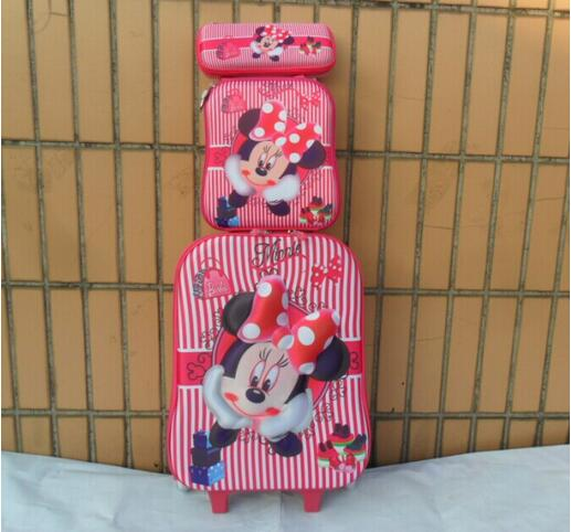 New Minnie 16inch luggage sets 3D travel suitcase wheel (lunch box + pen boxes+trolley luggage ) EVA trolley case