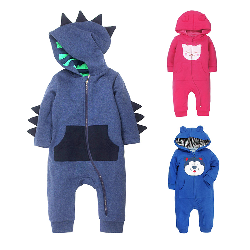 2018newborn baby rompers winter long sleeve polar Fleece clothes Hooded infant boy Girl body warm dinosaur costume body clothing 2017 new baby rompers winter thick warm baby girl boy clothing long sleeve hooded jumpsuit kids newborn outwear for 1 3t