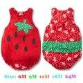 Verano lindo rojo De la fresa recién nacido De los bebés De los mamelucos del mono macacão Roupas De Bebe Menina mamelucos del bebé ropa infantil
