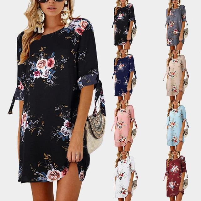 2018 Women Summer Dress Boho Style Floral Print Chiffon Beach Dress Tunic Sundress Loose Mini Party Dress Vestidos Plus Size 5XL 6