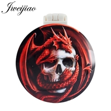 JWEIJIAO Red Dragon Skull Pocket Mirror With Massage Comb Folding Makeup Hand Vanity Travel Purse Mirrors gift for women espelho