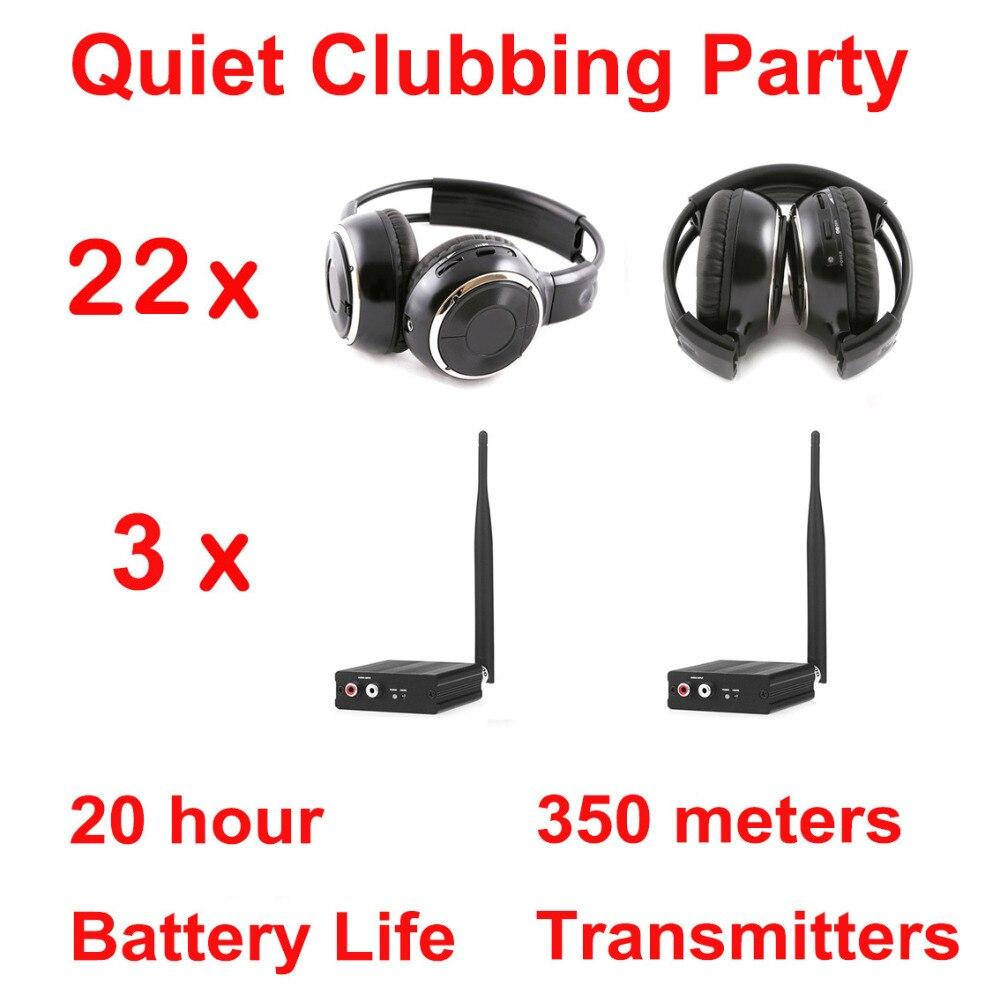 Silent Disco compete system black folding wireless headphones Quiet Clubbing Party Bundle 22 Headphones 3 Transmitters