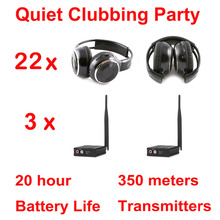 Silent Disco compete system black folding wireless headphones – Quiet Clubbing Party Bundle (22 Headphones + 3 Transmitters)