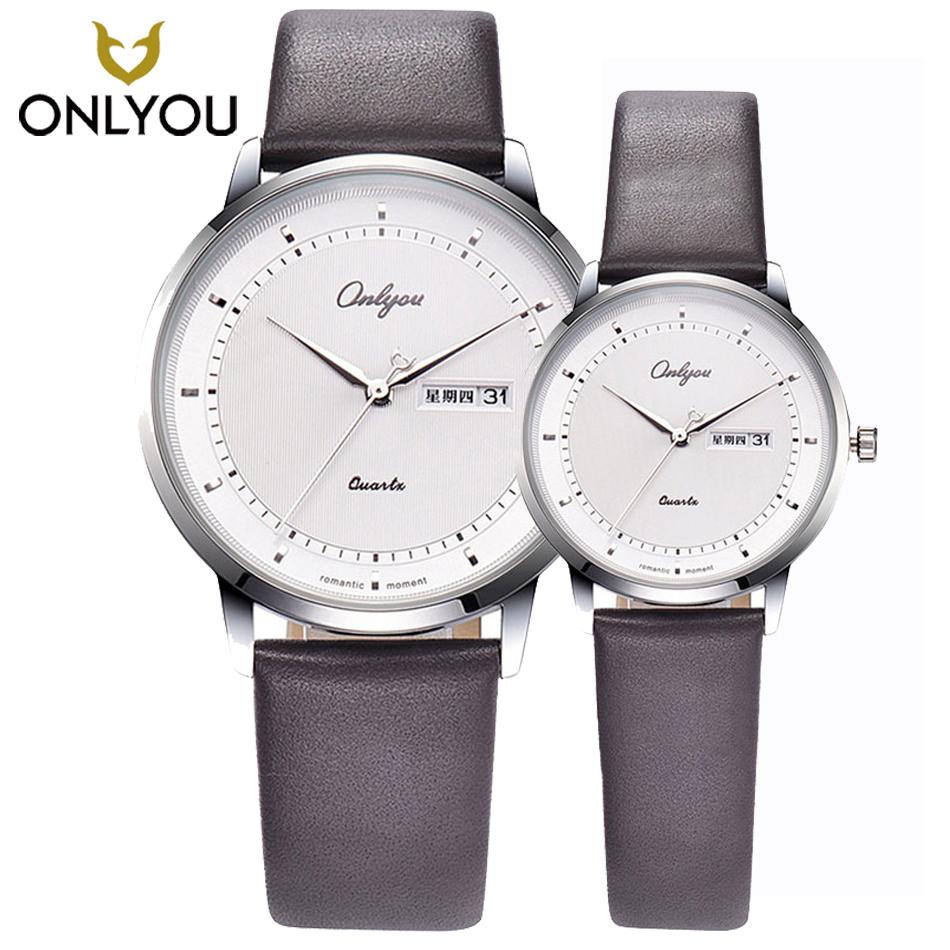 ONLYOU Fashion Lovers Watches Luxury Brand Casual Leather Watchband Couple Watch Display Date Quartz Ladies Watches Male Clock onlyou luxury brand lovers watch fashion quartz watches women men business casual ladies gold wrist watch male female clock 8828