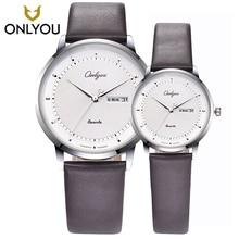 Onlyou любителей моды Часы Элитный бренд Повседневное кожаный ремешок для часов пару часов Дисплей Дата кварцевые женские Часы мужской часы