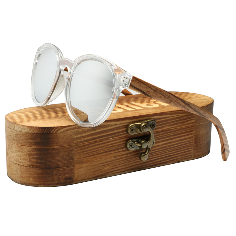 Ablibi Vintage Round Mens Polarized Wood Sunglasses