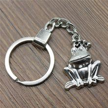 Vintage Key Ring Metal Chain Keychain Jewelry Gift Antique Silver Plated Frog Prince 34x25mm Pendant