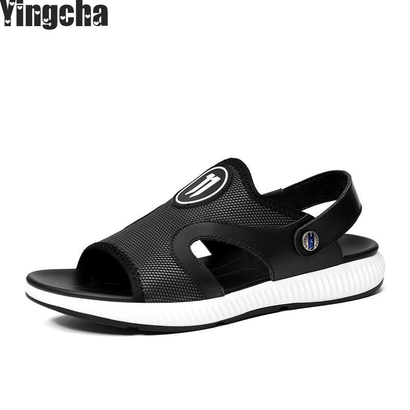 Breathable Summer Men Leather Slides Sandals Shoes Luxury Brand Classical Male Italian Formal Beach Designer Sandals For Men