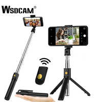 Wsdcam 3 in 1 Senza Fili Bluetooth Selfie Stick Portatile Monopiede Otturatore A Distanza Pieghevole Mini Treppiede Per iPhone XR 8X7 6 s Plus