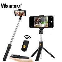 Wsdcam 3 in 1 kablosuz bluetooth Selfie Sopa elde tutulan tek ayak Deklanşör Uzaktan Katlanabilir Mini Tripod iPhone XR 8X7 6 s Artı