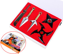 Naruto Shuriken Minato Kunai Zabuza Weapons With Shelf Cosplay props set 5pcs Collection