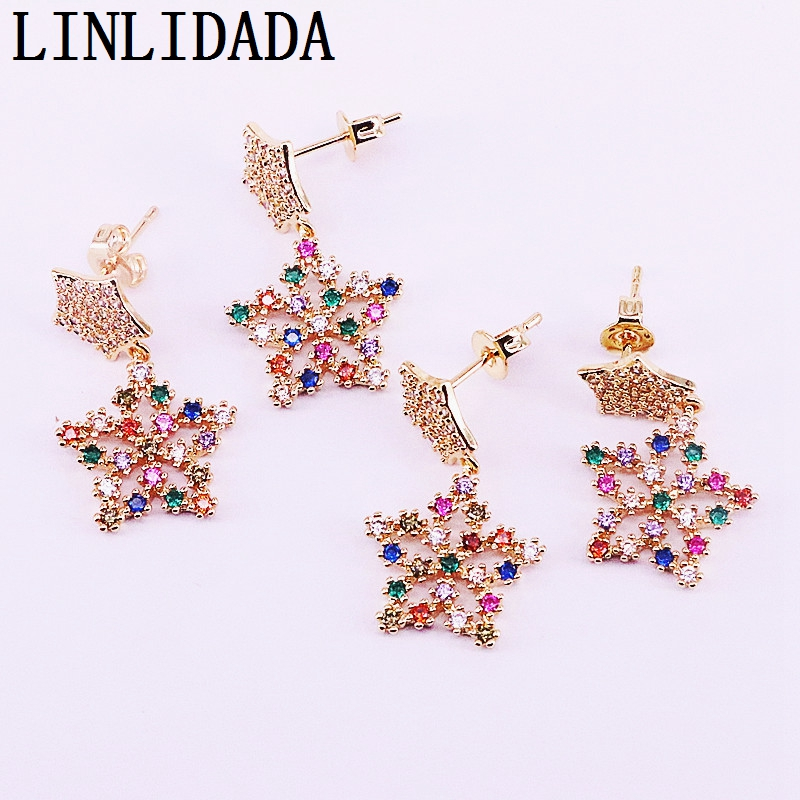 8Pair Gold Filled Colorful Zirconia CZ Micro Pave Fashion FLOWER Charm Dangle Earring Jewelry Gifts