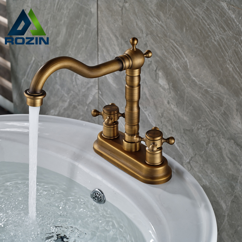 Dual Cross Handles Basin Vessel Sink Faucet Deck Mount Dual Hole Bathroom Mixer Tap Antique Brass Finish antique brass bathroom basin faucet dual cross handles single hole deck mounted vessel sink gooseneck mixer taps wnf006