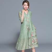 Ethnic Chinese Style V Neck Button Floral Print Women Dresses High Quality Silk Linen Dress Side