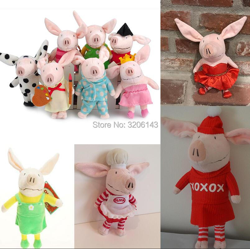 22CM Olivia The Pig Ballerina Dress Snow Day Winter Christmas Dress Pajamas Painter Cosplay Artist Chef Plush Toys Gift