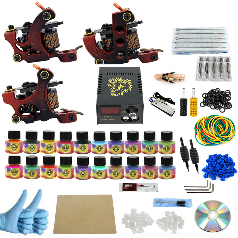 Complete profession Tattoo kits 10 wrap coils 3 guns machine 20 tattoo ink set power supply disposable needle Foot pedal complete tattoo kits pro gun machine power pedal 10 color ink sets power supply disposable needle grip tip quality new arrival