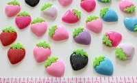120pcs polka dots colorful Big Strawberry Cabochons (30mm) Cell phone decor, hair accessory supply, embellishment, DIY