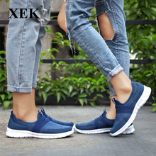 XEK Men Sneakers tenis casual feminino casual shoes Men Flats Slip on Splice shoes Blue Gray Plus Size 39-47 ZLL142