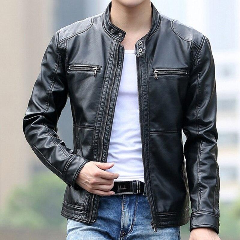Leather Jacket Men Fashion Stand Collar Pilot Sheepskin Coat Male Motorcycle Leather Jackets