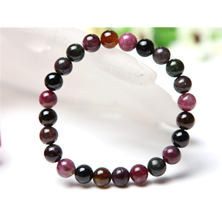 8mm Genuine Colorful Natural Tourmaline Quartz Crystal Round Beads Stretch Charm Bracelets For Women 6 8mm colorful morganite bracelets round natural stone bracelets morganite beads bracelet for women gift women jewelry