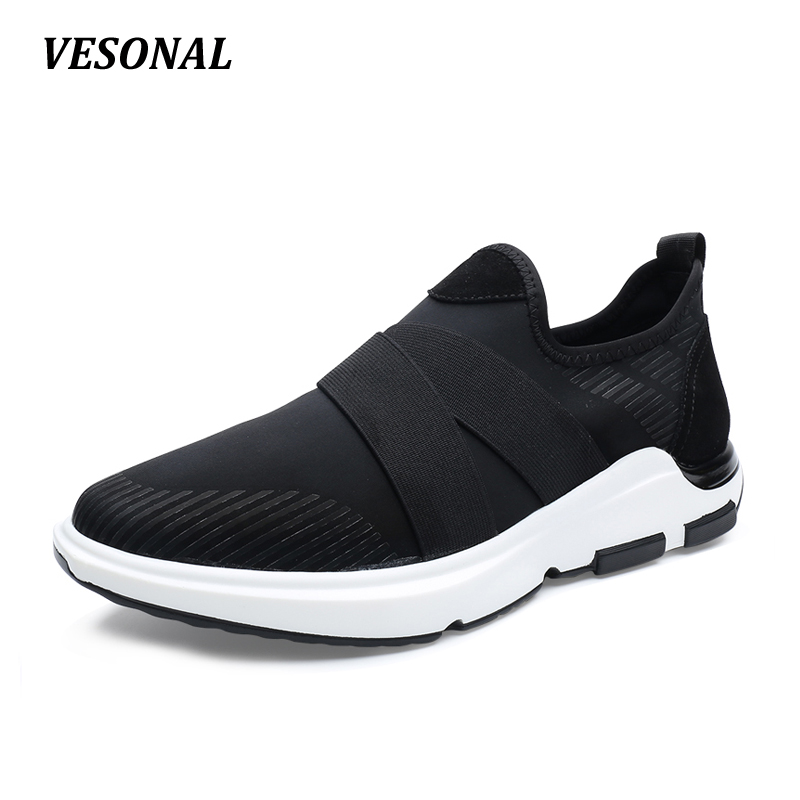 VESONAL Elastic Lycra Fabric Slip On Wedge Loafers Mens Shoes Casual Breathable Men Shoes Boat Outdoor Walking Black SD7082 branded men s penny loafes casual men s full grain leather emboss crocodile boat shoes slip on breathable moccasin driving shoes