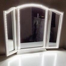 Новинка 240 светодиодов Макияж Зеркало LED-подсветка маленького зеркала с диммером питания для туалетного столика с ручным макияж зеркало огни DA