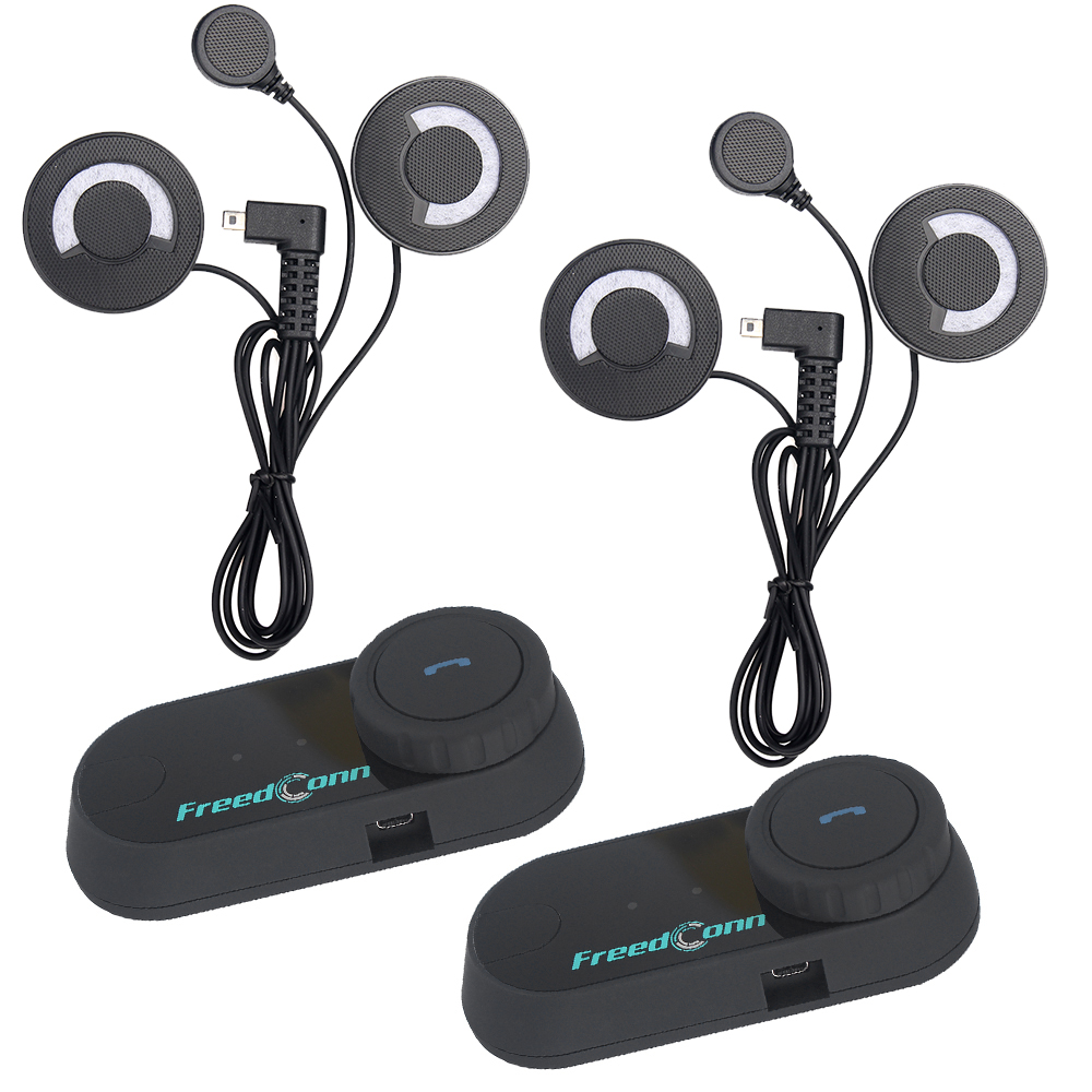 2pcs FreedConn Original FM Intercom Bluetooth Motorcycle Helmet T COM Interphone Headset Soft Microphone for 3 Riders