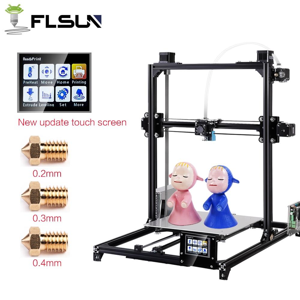 Flsun I3 Dupla Extrusora 3d Impressora De Grande Tamanho de Impressão de 300x300x420mm Tela de Toque Auto-Nivelamento DIY Kit 3D-Printer Cama Aquecida
