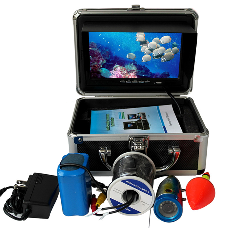 Waterproof Fish Finder 15meter Cable Underwater Fishing Video Camera With 7inch Monitor Battery White LED Lights