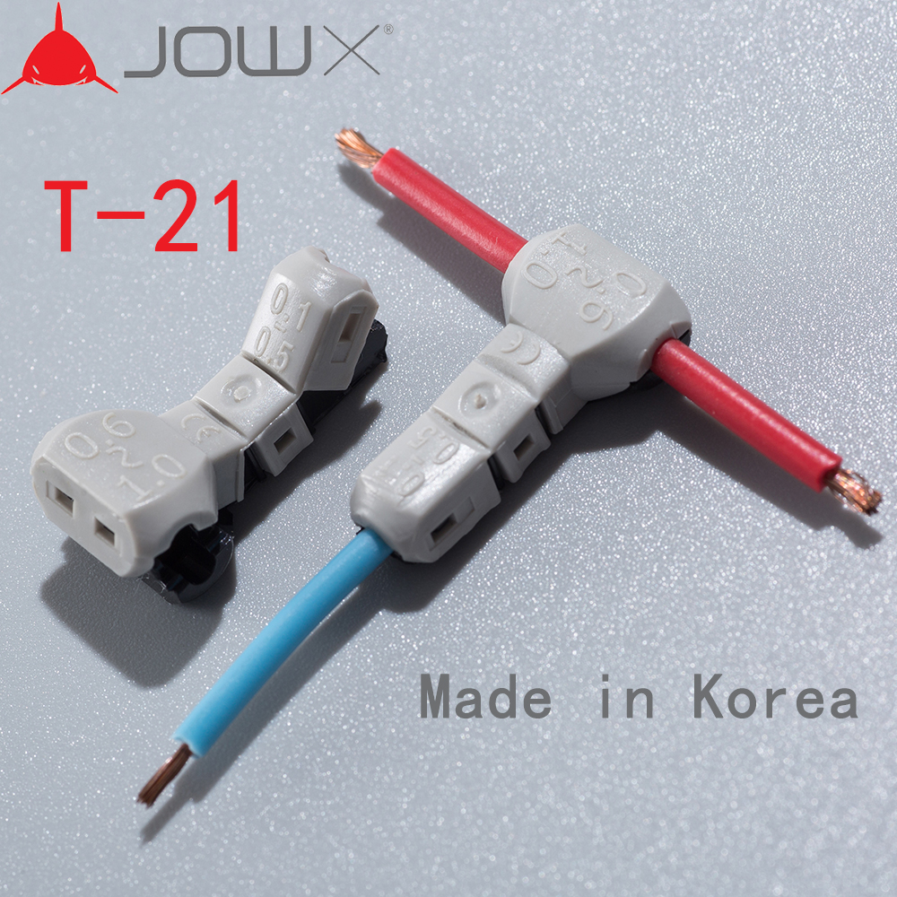 JOWX T-21 10PCS 18AWG 0.75sqmm Tap 23~20 0.3~0.5 T-branch Cable Wire Connector T-Joint Quick Splice Crimp Terminals Made In Kore