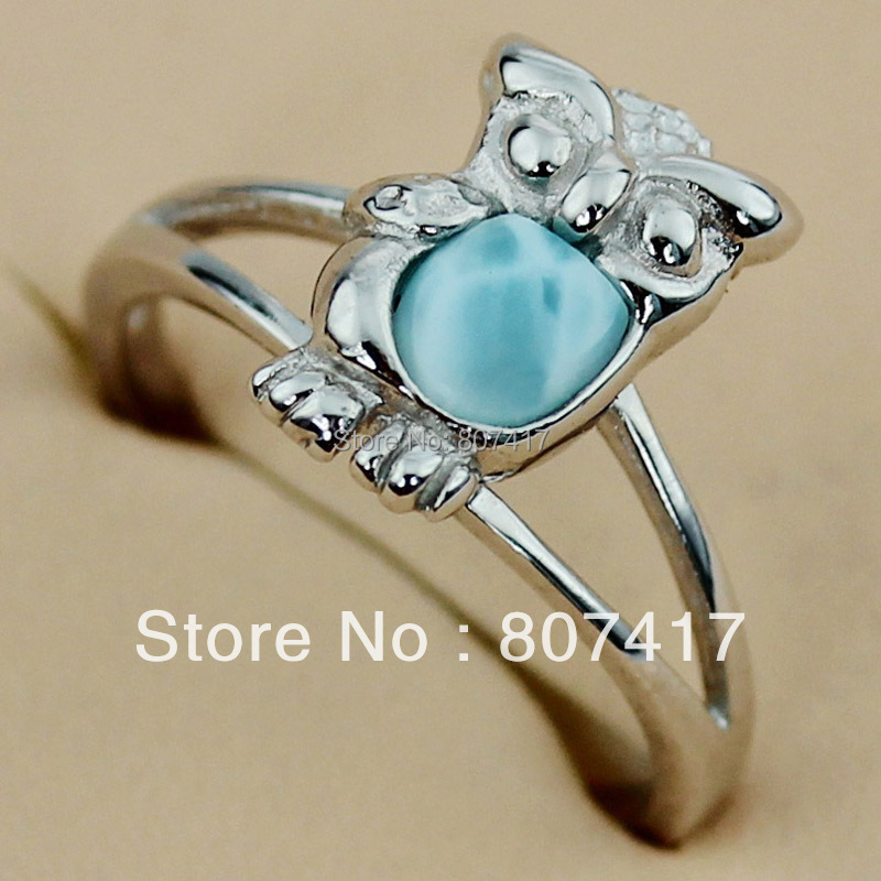 SHUNXUNZE Larimar Nantrual Stone Owl vintage Engagement wedding rings for men and Noble women Rhodium Plated R3506 size 6 7 8 9