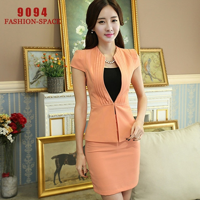 2bd995a750 Female Work Skirts Womens Business Suits Terno Feminino Blazer Set Ladies  Uniform Design Conjunto Feminino De Saia e Blusa N321