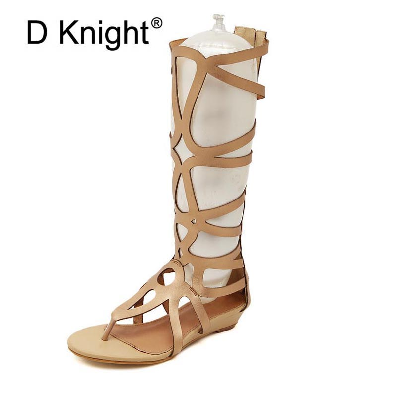 Fashion Cut outs High Top Women Wedge Flip Flips Ladies Casual Summer Gladiator Shoes Women Sexy Knee High Rome Wedges Sandals