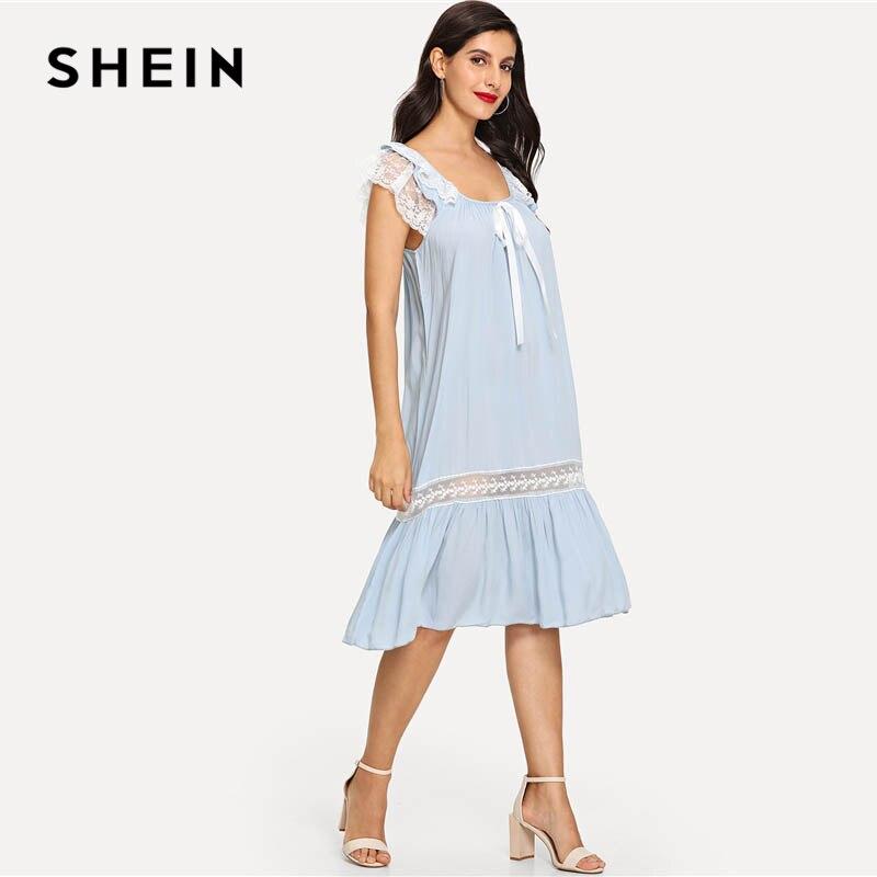 b479dea7c2 SHEIN Blue Knot Detail Lace Insert Ruffle Hem Nightdress Elegant Casual  Sleeveless Scoop Neck Backless Women Summer Sleepwear-in Nightgowns &  Sleepshirts ...