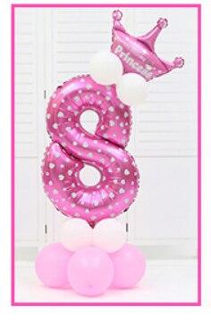 16 шт./упак. розового и голубого цвета для детей 0-9 цифры Большие Гелиевые номер Фольга детей фестивалей Dekoration День рождения шляпа игрушки для детей - Цвет: pink 8