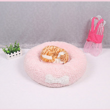 High Quality Pink Short Plush Cat Litter Warm Dog Bed Puppy Cushion Lovely Round Comfortable Animals Kennel Soft Pets Mat Cheap