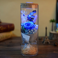Decorative Lighted Prince Glass Cover Fresh Preserved Rose Flower Immortal Eternal Rose For Valentine S Day