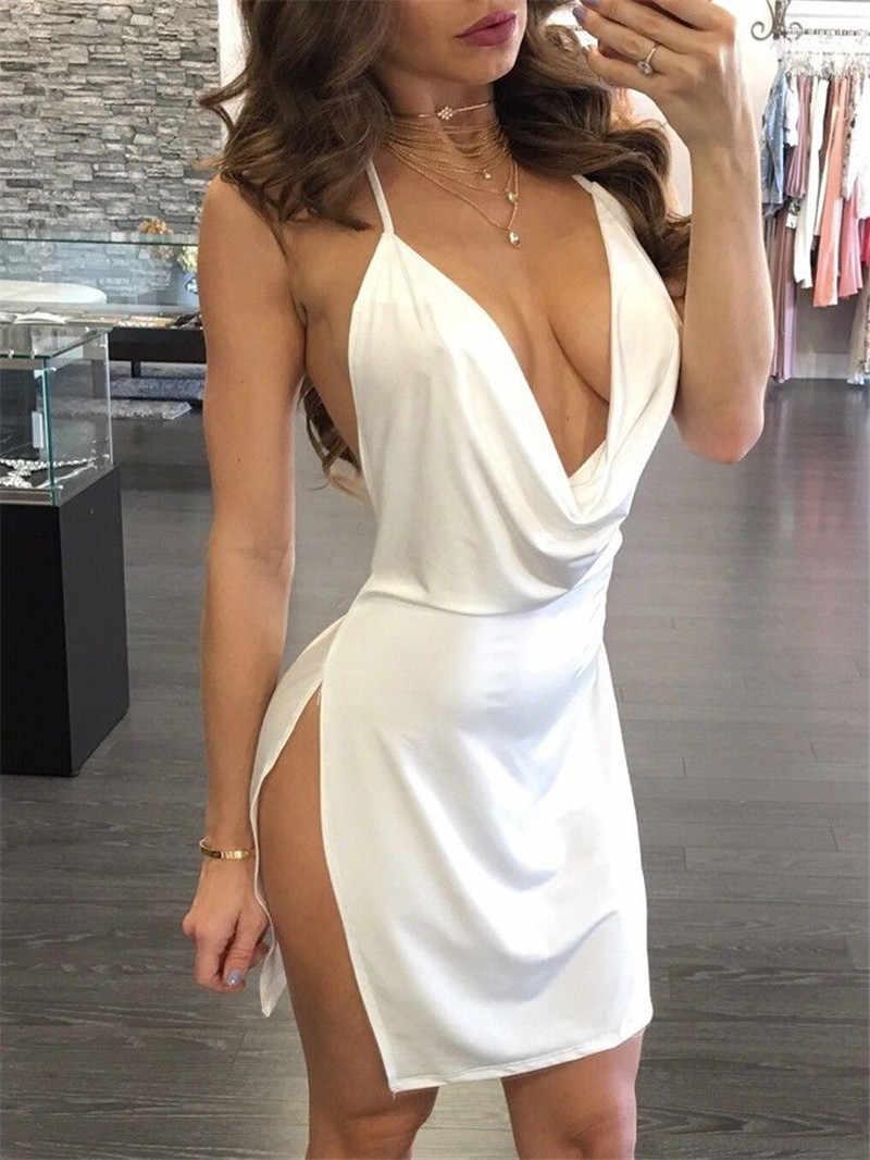 98079edcd93 Sexy Women Deep V Halter Split Summer Dress Clubwear Off Shoulder Backless  Lace-up Dresses