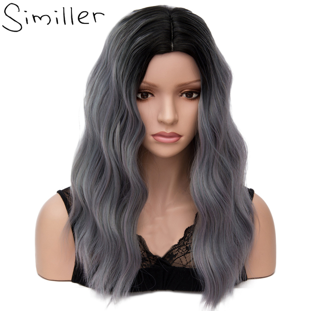 Similler Middle Parting Women Long Synthetic Cosplay Wigs Heat