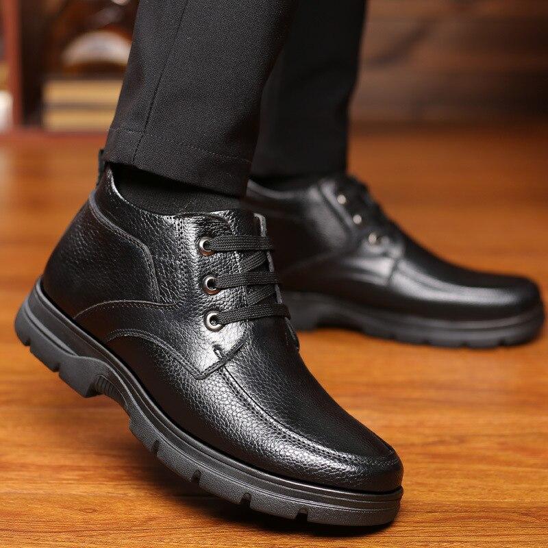 Garder En Noir Jovencita Au Hommes Cuir Zapatos Mâle Courte Chaussures Peluche Fourrure marron Bottes Hiver Véritable De Chaud D'hiver Casual qx7tU