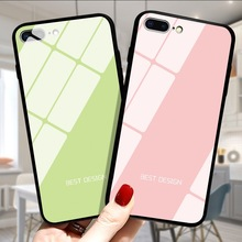 For iPhone X Case 6s XS Cover TPU for 7 8 Max XR Luxury Tempered Glass Gradient solid color