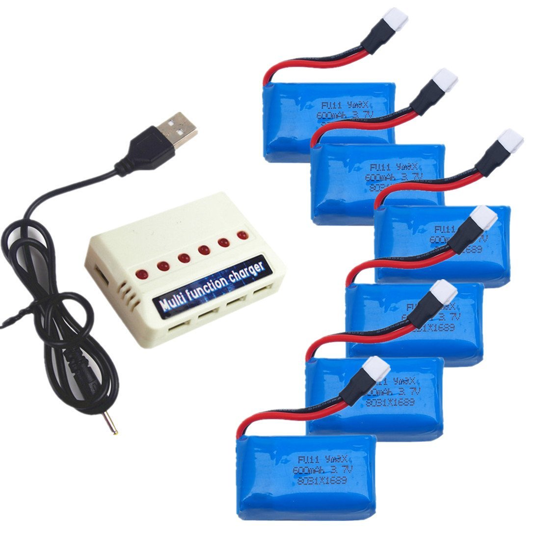 EBOYU(TM) 6pcs 3.7V 600mah Lipo Battery And 1 to 6 Battery Charger For Syma X9 X9S Flying Car Rc Quadcopter Drone Spare Parts eboyu tm 2pcs 7 4v 1800mah 25c battery and 1to2 7 4v battery charger for mjx b3 bugs 3 rc quadcopter drone spare parts