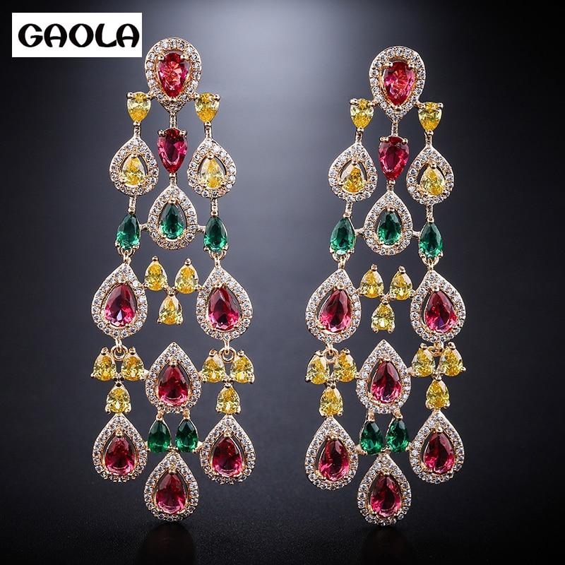GAOLA New Luxury Colorful Cubic Zircon Flower Shape Dangle Earrings Women Fashion Jewelry GLE7730YGAOLA New Luxury Colorful Cubic Zircon Flower Shape Dangle Earrings Women Fashion Jewelry GLE7730Y