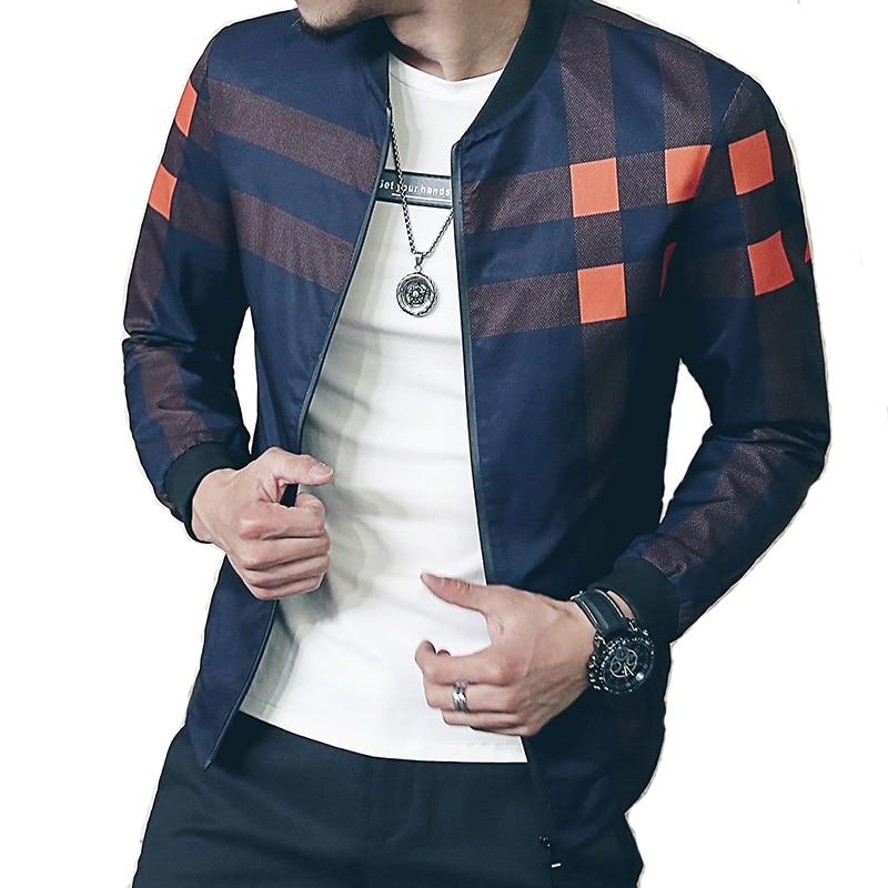 newest 8aac9 b4e9d Neue Marke Baseball Kragen Jacke Männer Plaid Mode 2017 Herren Bomber  Jacken Für Männer Herbst Stil Aktiven Windjacke Mantel Männlichen
