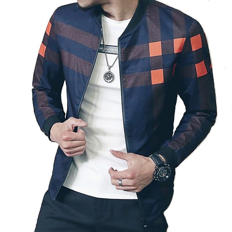 New brand baseball colletto della giacca uomini plaid di modo 2017 mens bomber giubbotti per uomo autunno stile attivo giacca a vento cappotto maschile