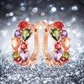 4 Colores de Calidad Superior de Oro de Rose Plateado Multicolor CZ Diamond Flor de piedra Pendientes Del Aro para Las Mujeres Bijoux brinco de argola Er080