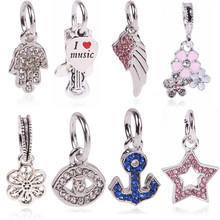 Ranqin Metal Zinc Alloy Wings With Heart Beads Fit Pandora Charms Vintage Silver Diy Big Hole Beads Bracelet Charms(China)