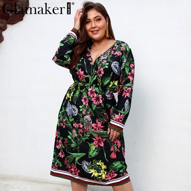 Glamaker Black deep v-neck floral print midi dresses Women long sleeve stripe holiday dress Female summer elegant casual dress