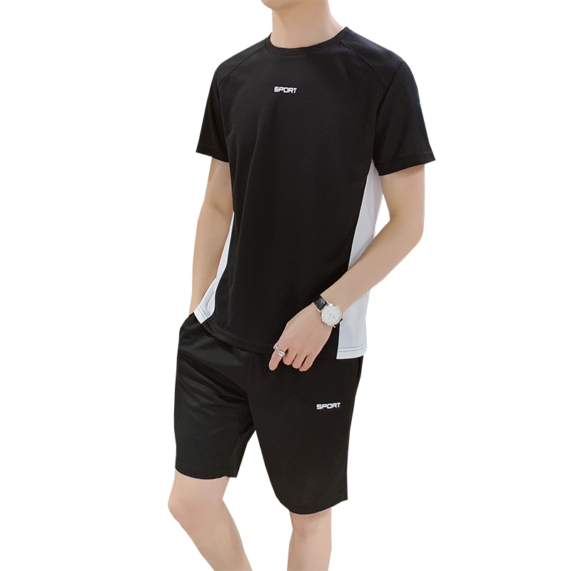Men's Tracksuit Summer 2 Piece Set Short Sleeve Tee Causal Tops Shorts Sportswear Joggers Set Men Male Clothes Set Plus Size