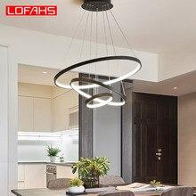 Circulo de aluminio lamparas de techo colgante Blanco y negro moderna salon lampara Ajuste libre cuerda lampara comedor